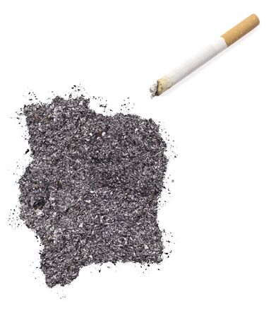 ciggy: The country shape of Ivory Coast made of tobacco ash and a cigarette.(series)