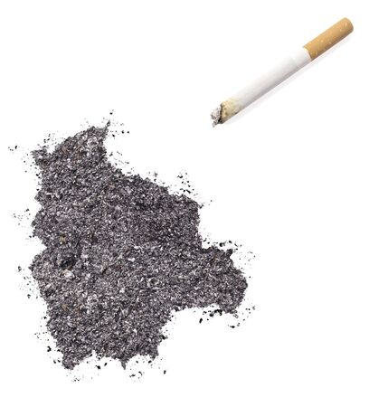 ciggy: The country shape of Bolivia made of tobacco ash and a cigarette.(series) Stock Photo