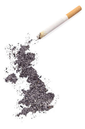 ciggy: The country shape of United Kingdom made of tobacco ash and a cigarette.(series)