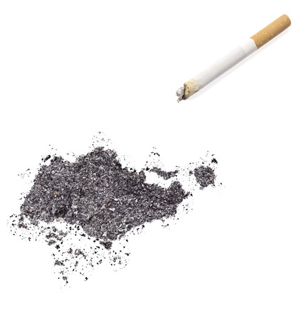 ciggy: The country shape of Singapore made of tobacco ash and a cigarette.(series)