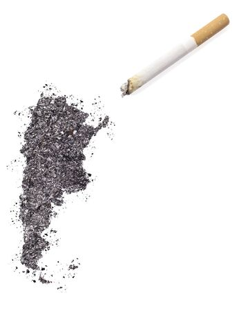 ciggy: The country shape of Argentina made of tobacco ash and a cigarette.(series) Stock Photo