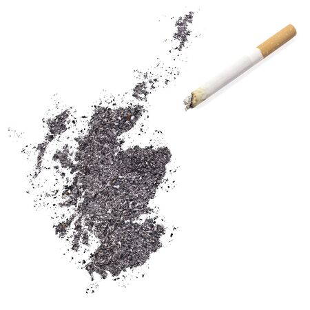 ciggy: The country shape of Scotland made of tobacco ash and a cigarette.(series) Stock Photo