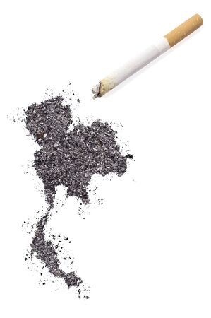 ciggy: The country shape of Thailand made of tobacco ash and a cigarette.(series)
