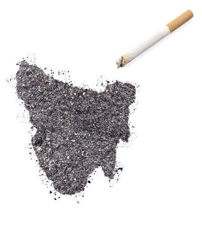 ciggy: The country shape of Tasmania made of tobacco ash and a cigarette.(series) Stock Photo