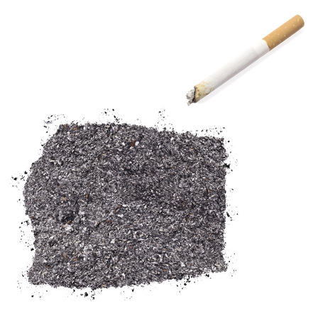 ciggy: The country shape of Equatorial Guinea made of tobacco ash and a cigarette.(series) Stock Photo