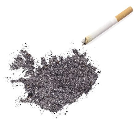 ciggy: The country shape of Iceland made of tobacco ash and a cigarette.(series)