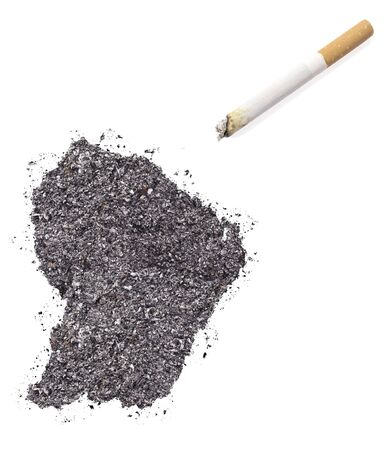 ciggy: The country shape of French Guiana made of tobacco ash and a cigarette.(series)