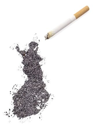 made in finland: The country shape of Finland made of tobacco ash and a cigarette.(series) Stock Photo