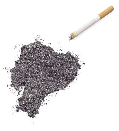ciggy: The country shape of Ecuador made of tobacco ash and a cigarette.(series) Stock Photo