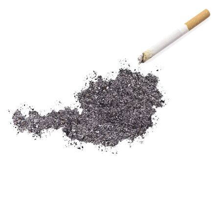 ciggy: The country shape of Austria made of tobacco ash and a cigarette.(series)