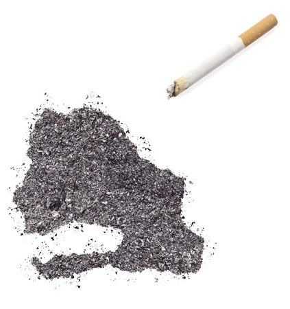 ciggy: The country shape of Senegal made of tobacco ash and a cigarette.(series)