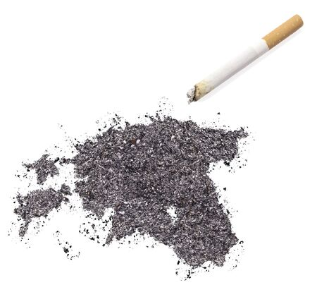 ciggy: The country shape of Estonia made of tobacco ash and a cigarette.(series) Stock Photo