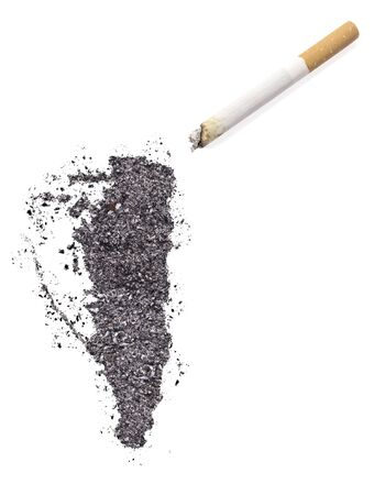 ciggy: The country shape of Gibraltar made of tobacco ash and a cigarette.(series)