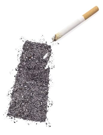 ciggy: The country shape of Saskatchewan made of tobacco ash and a cigarette.(series)