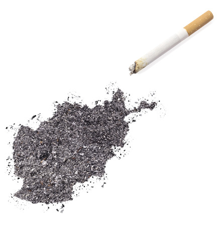 ciggy: The country shape of Afghanistan made of tobacco ash and a cigarette.(series)