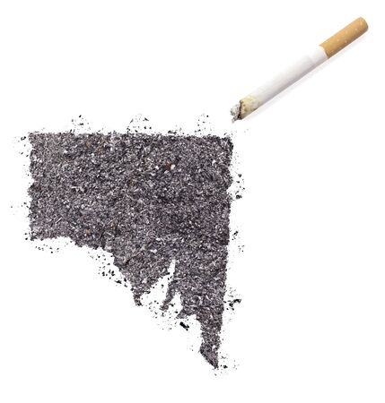 ciggy: The country shape of Southern Australia made of tobacco ash and a cigarette.(series) Stock Photo