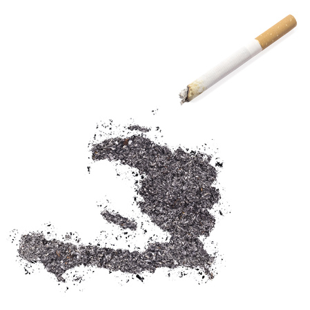 ciggy: The country shape of Haiti made of tobacco ash and a cigarette.(series)