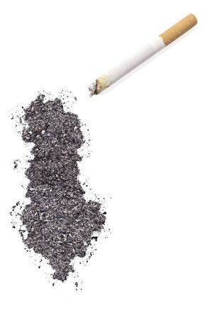 ciggy: The country shape of Albania made of tobacco ash and a cigarette.(series)