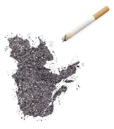 ciggy: The country shape of Quebec made of tobacco ash and a cigarette.(series)