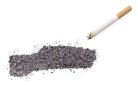 ciggy: The country shape of Gambia made of tobacco ash and a cigarette.(series)