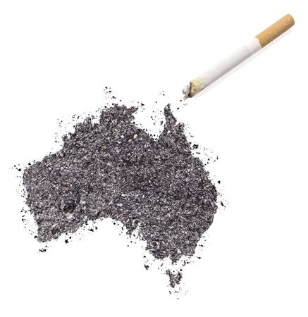 ciggy: The country shape of Australia made of tobacco ash and a cigarette.(series) Stock Photo
