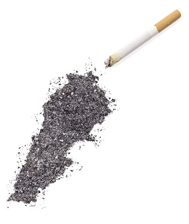 ciggy: The country shape of Lebanon made of tobacco ash and a cigarette.(series)