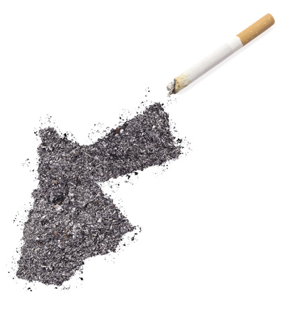 ciggy: The country shape of Jordan made of tobacco ash and a cigarette.(series)