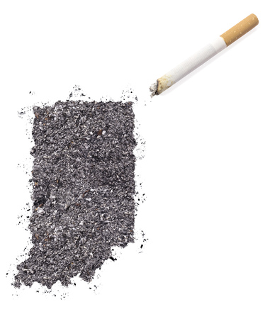 ciggy: The country shape of Indiana made of tobacco ash and a cigarette.(series)