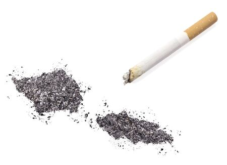 ciggy: The country shape of Samoa made of tobacco ash and a cigarette.(series)