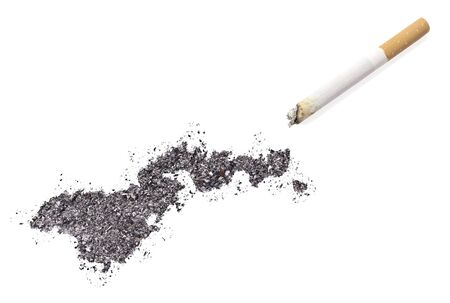 ciggy: The country shape of American Samoa made of tobacco ash and a cigarette.(series)