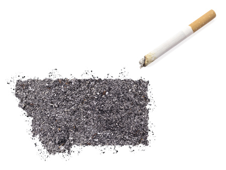 ciggy: The country shape of Montana made of tobacco ash and a cigarette.(series)