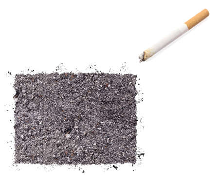 ciggy: The country shape of Colorado made of tobacco ash and a cigarette.(series) Stock Photo