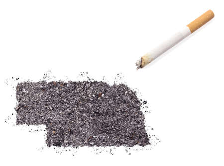 ciggy: The country shape of Nebraska made of tobacco ash and a cigarette.(series)