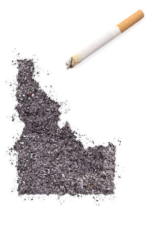 ciggy: The country shape of Idaho made of tobacco ash and a cigarette.(series)