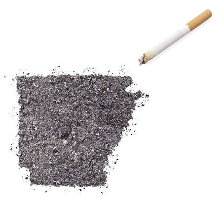 ciggy: The country shape of Arkansas made of tobacco ash and a cigarette.(series)