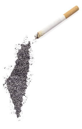 ciggy: The country shape of Israel made of tobacco ash and a cigarette.(series) Stock Photo