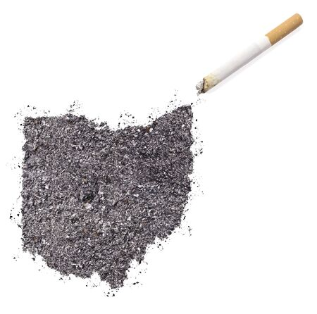 ciggy: The country shape of Ohio made of tobacco ash and a cigarette.(series)