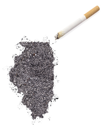 ciggy: The country shape of Illinois made of tobacco ash and a cigarette.(series)