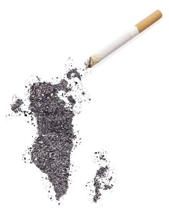 ciggy: The country shape of Bahrain made of tobacco ash and a cigarette.(series)