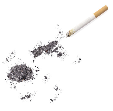 fijian: The country shape of Fiji made of tobacco ash and a cigarette.(series)