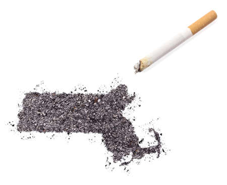 ciggy: The country shape of Massachusetts made of tobacco ash and a cigarette.(series)