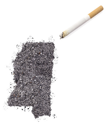 ciggy: The country shape of Mississippi made of tobacco ash and a cigarette.(series)