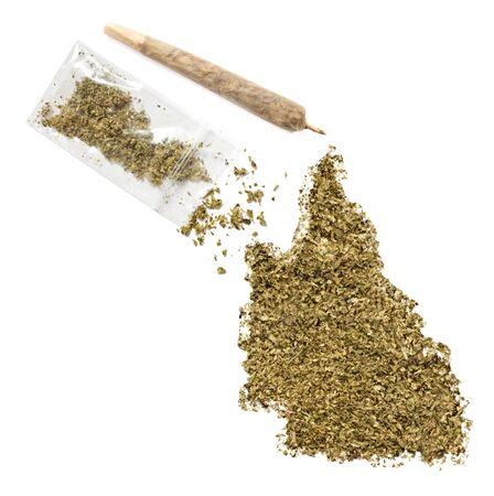 grinded: Grinded weed shaped as Queensland and a joint.(series)