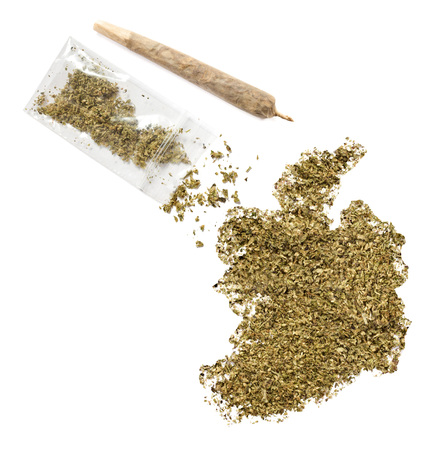 grinded: Grinded weed shaped as Ireland and a joint.(series) Stock Photo