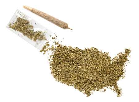Grinded weed shaped as USA and a joint.(series)