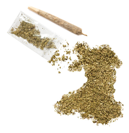 grinded: Grinded weed shaped as Wales and a joint.(series)