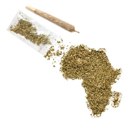 weed: Grinded weed shaped as Africa and a joint.(series)