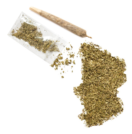 chadian: Grinded weed shaped as Chad and a joint.(series) Stock Photo