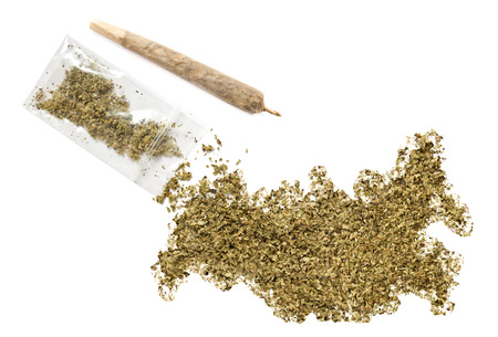 grinded: Grinded weed shaped as Russia and a joint.(series)