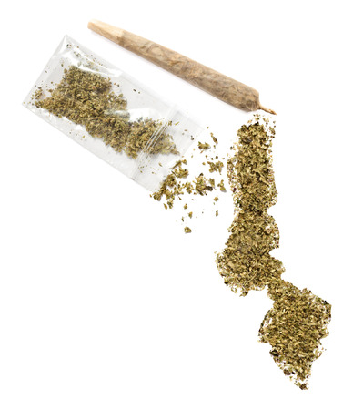 malawian: Grinded weed shaped as Malawi and a joint.(series) Stock Photo